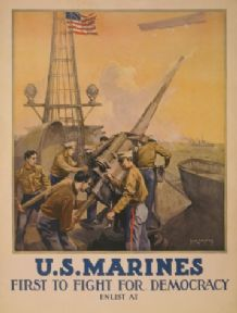 Vintage U.S. Marines - first to fight for democracy - Enlisting Poster.